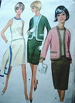 1960s SLIM SKIRTED 3 PC SUIT PATTERN McCALLS 8600