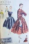 1950s Vogue Special Design 4650 Dress Pattern Lovely Cocktail Evening Style Full Skirted, Flattering Draped Neckline, Short Jacket Lovely Design