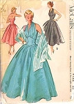 1950s GLAM HALTER TOP EVENING DRESS, STOLE  PATTERN LOVELY FITTED BODICE, FULL DANCING SKIRT, COCKTAIL PARTY or FORMAL LENGTHS, SO MARILYN MONROE McCALLS 9122