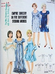 1960s EVENING DRESS PATTERN EMPIRE STYLE 5 DESIGNS, SCOOP NECKLINES , SLEEVE VERSIONS , EVENING or COCKTAIL LENGTHS, PLUS STOLE BUTTERICK 4163
