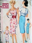 1960s Simplicity 3464 Vintage Sewing Pattern Vampy Rockabilly Square or Bateau Neckline Curve Hugging Sheath Cocktail Party Dress, Back Buttoned Jacket Bust 32 Simple To Make