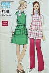 1960s VOGUE PATTERN 7624 MOD  JUMPER or TUNIC TOP, STRAIGHT LEG PANTS