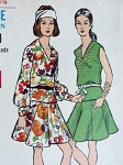 1960s 2 PC DRESS PATTERN BLOUSON  PEPLUM TOP, 8 GORED SKIRT  VOGUE 7560