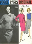 60s NINA RICCI 3 Pc Suit Pattern VOGUE PARIS ORIGINAL 1255 Unique Optional Back Cape Fitted Jacket, Blouse and Slim Skirt Ultra Sophisticated Bust 34 Vintage Sewing Pattern