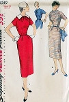 1950s Simplicity Pattern 1039 Slim Dress Detachable Collar Yoke Pockets Classy Style