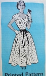 1950s Lovely Dress Pattern ANNE ADAMS 4553 Sweetheart Neckline, Full Beautiful Skirt Day or Party Cocktail Dress Vintage Sewing Pattern Bust 32