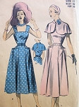 1950s SUN DRESS,PETER PAN COLLAR CAPE PATTERN LARGE POCKETS, VERY PRETTY STYLE ADVANCE 5511