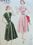 1950s DRESS PATTERN FLARE SKIRTED, SLIT NECKLINE, CAP SLEEVES VOGUE 7657