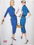 1950s 2 PC DRESS, SCARF PATTERN SLIM SKIRTED, SURPLICE WRAP TOP, EASY TO SEW McCALLS PATTERNS 4618
