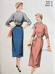 1950s 2PC SLIM DRESS PATTERN  WRAP AROUND SKIRT, DOLMAN SLEEVED BLOUSE ADVANCE PATTERNS 5626