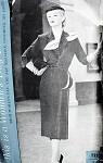 1950s DRAMATIC DESIGNER DRESS PATTERN  DETACHABLE QUILL, UNIQUE HIP TRIM, FONTANA ORIGINAL WOMANS DAY 5020