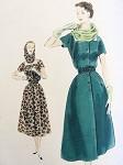 1950s DRESS, SCARF HOOD PATTERN FLATTERING SQUARE NECKLINE VOGUE SPECIAL DESIGN 4390