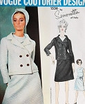 1960s SIMONETTA 3 Pc Suit Pattern Vogue Couturier Design 1536 Double Breasted Jacket  A Shape Skirt Lovely Cowl Neck Blouse Vintage Sewing Pattern