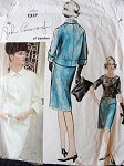 1960s JOHN CAVANAGH 3 PC SLIM SKIRTED  SUIT PATTERN  JACKET  CUFFS or RUFFLED SLEEVES VOGUE COUTURIER DESIGN 1317