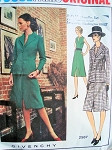 70s Dress Pattern Vogue 2587 Paris Original Givenchy Dress and Jacket Day or Evening Slit Neckline Bust 32.5
