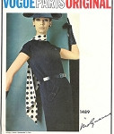 1960s MOLYNEUX VOGUE PARIS Original Pattern1489 Slim Dress DIAGONAL Seam Design FACTORY FOLDED