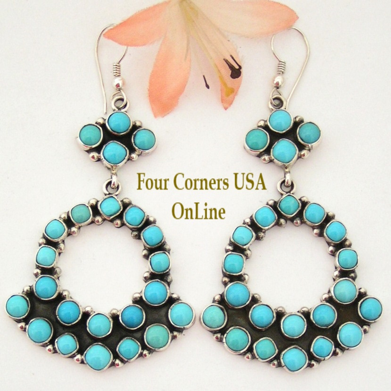 Large Turquoise Chandelier Earrings Native American Navajo Silver ...