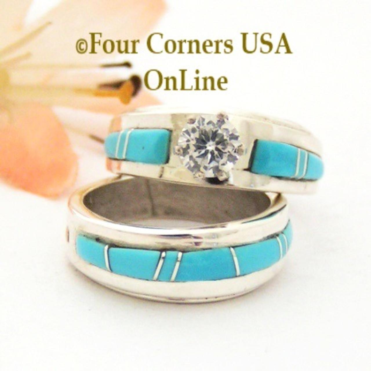 Size 4 1 2 Turquoise Engagement Bridal Wedding Ring Set Native American Wilbert Muskett Jr