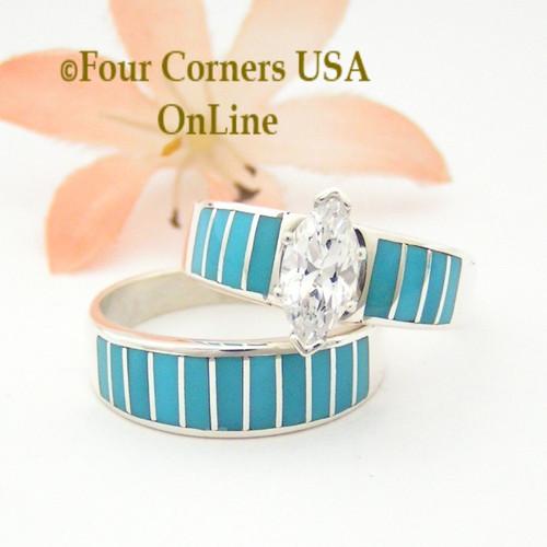 size 10 turquoise inlay wedding engagement ring set navajo ella cowboy ws1488 four corners