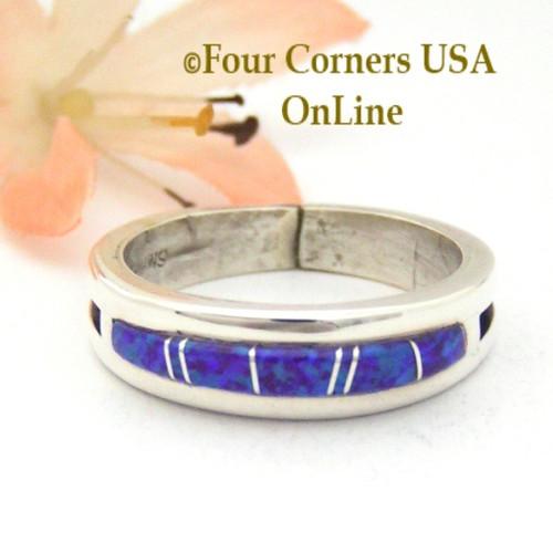 size 10 12 purple fire opal inlay ring native american wilbert muskett jr wb - Navajo Wedding Rings