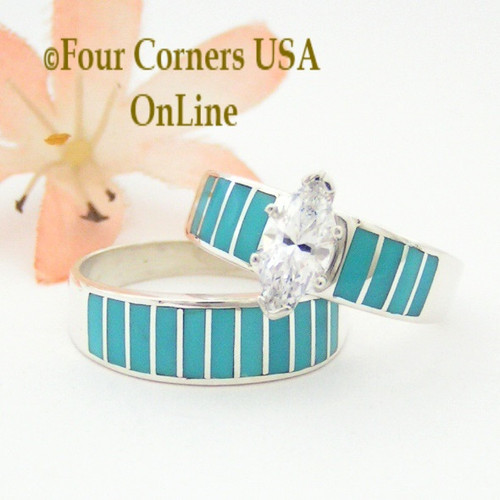 Turquoise Bridal Engagement Ring Sets - Navajo Wedding Rings ...