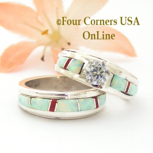 Size 5 1 2 White Fire Opal And Coral Engagement Bridal Wedding Ring Set Navajo Wilbert Muskett Jr WS 1589 Closeout Final Sale
