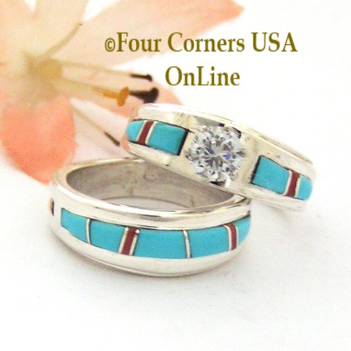 Size 5 1 2 Turquoise Red Coral Engagement Bridal Wedding Ring Set Native American Wilbert