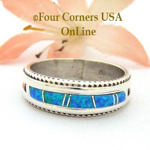 size 10 12 blue fire opal inlay band ring navajo artisan wilbert muskett jr - Navajo Wedding Rings