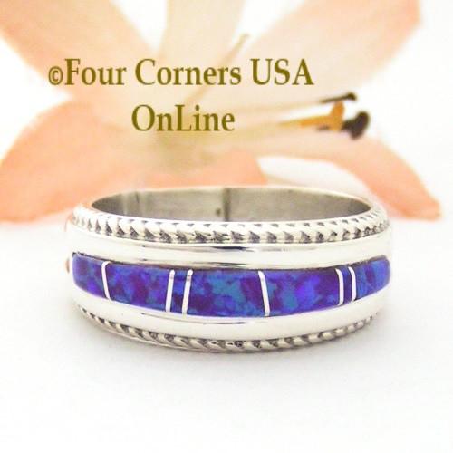 Size 7 1 2 Purple Fire Opal Inlay Band Ring Navajo Artisan Wilbert Muskett Jr
