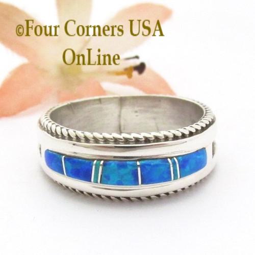 blue opal engagement wedding ring sets navajo wedding rings - Opal Wedding Ring Sets