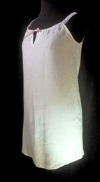 Sleeveless Ladies Nightgown in 100 % Linen has eyelet-n-ribbon straps that add a feminine touch