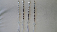 Pearl and garnet Tzitzit, silver colored accents with lobster claw clasps
