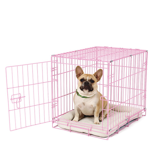 small pink wire dog crate