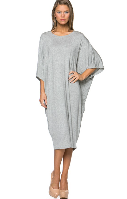 Summer Grey, This summer's hottest style in dresses. Beautiful dolman sleeve in our famous rayon spandex fabric. Style to suit your day, belted, loose, over your favourite leggings, or as a cover up at the beach, either way it looks great.
