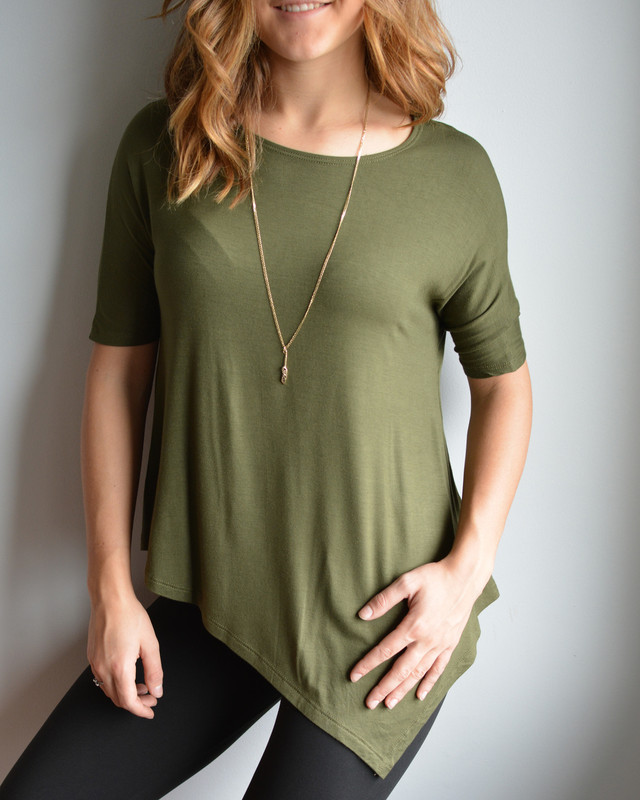 Our classic Betty top in a lovely short sleeve version, perfect for under layering or on it's own, either way you can't go wrong with this classic olive colour in our famous rayon spandex blend fabric.