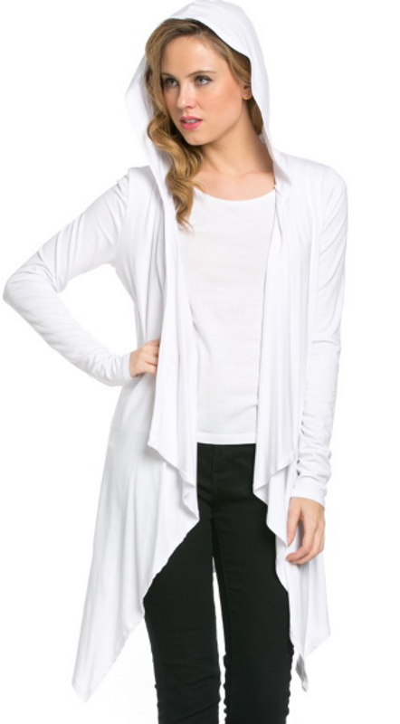 Much more sophisticated than a hoodie, our hooded cardigan still gives you that comfortable feeling but also adds class to your outfit. Soft draping and a hankerchief style hem provide length and a flattering fit. A great choice to go with our fabulous leggings and pretty much anything else in your closet!