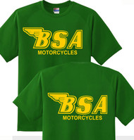 BSA tee (green/gold outline) DBL side