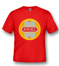 ARIEL tee shirt (regal red/ gold tank badge)