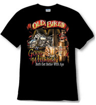 Old bikes and whiskey tee shirt