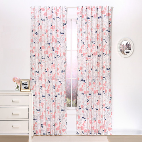 Coral Floral Blackout Window Curtain Panel Pair