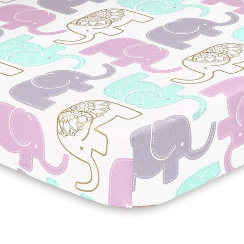 Little Peanut Lilac Collection Elephant Fitted Cotton Crib Sheet