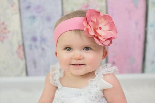 Candy Pink Soft Headband with Candy Pink Small Rose