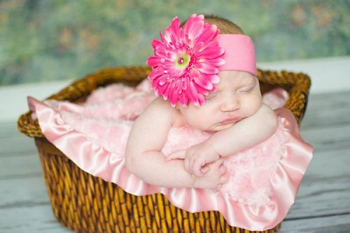 Candy Pink Soft Headband with Candy Pink Daisy