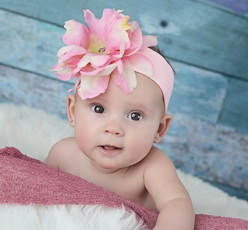 Pale Pink Soft Headband with Pale Pink Small Peony
