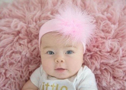 Pale Pink Soft Headband with Pale Pink Small Regular Marabou