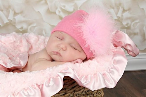 Candy Pink Cotton Hat with Candy Pink Large Regular Marabou