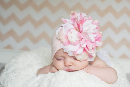 Pale Pink Cotton Hat with Pink White Large Peony