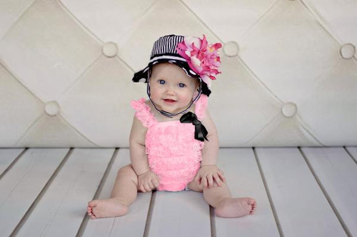 Black White Dot Sun Hat with Pink Raspberry Large Peony