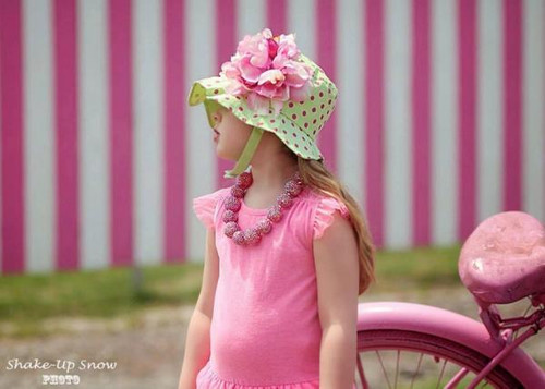 Light Aloe Sun Hat with Candy Pink Large Peony