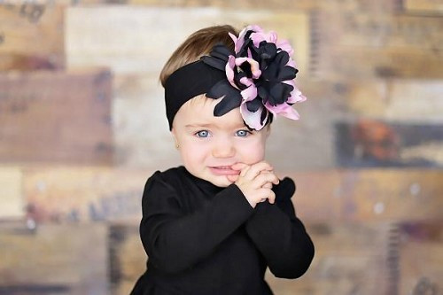 Black Soft Headband with Pink Black Small Peony